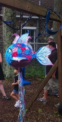 """How to make a fish pinata, would like to try to make this, but a little less """"girly"""" for my little boy"""