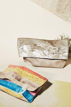 Slide View: 4: Shimmer Foldover Clutch