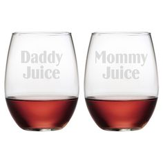 """Parents Only"" Stemless Wine Glasses"