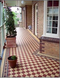 Red and Cognac classic checkerboard floor tiles by Winckelmans bringing a bit of color while nicely tying in with the brickwork. Tiled Hallway, Hallway Flooring, Porch Flooring, Tile Flooring, Flooring Ideas, Victorian Porch, Victorian Tiles, Tiles Uk, Hall Tiles