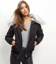 Black Faux Fur Collar Bomber Jacket  | New Look