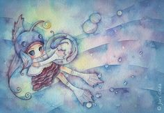 """20cm x 28cm / 7 1/2"""" x 11"""" / watercolor on paper / 2008  How wonderful would it be?"""