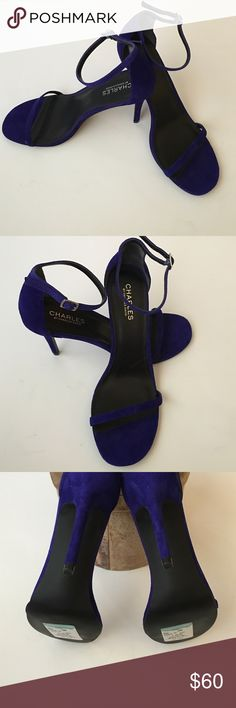 🎀🆕Charles by Charles David Suede Sandals🎀 Charles by Charles David electric blue, suede stilettos with slim ankle strap. New, never worn. Charles David Shoes Heels