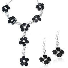 Set colier si cercei floricele negre