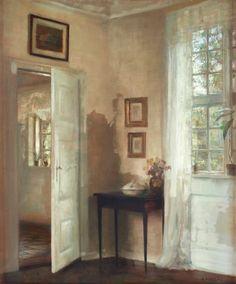 Interior by Carl Vilhelm Holsøe (b. 12 March 1863; Aarhus, Denmark — d. November 7, 1935; Asserbo, Denmark) Signed C. Holsöe. Panel 65 x 53 cm. http://da.wikipedia.org/wiki/Carl_Hols%C3%B8e