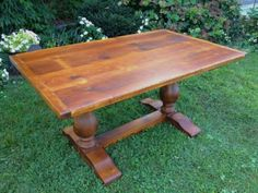 Trestle table made of reclaimed pine barn wood
