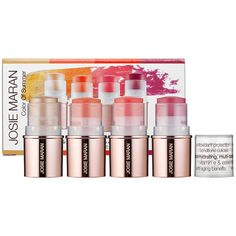Josie Maran Argan Lip & Cheek Color Sticks. Natural lookin color; helps my always-chapped lips. But, they can spoil if left in a hot room. (My office gets extremely hot weekends.)