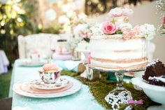 Cake + Place Setting from a Shabby Chic Alice In Wonderland Birthday Party via Kara's Party Ideas KarasPartyIdeas.com (42)