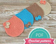 PDF Crochet Cat Coaster Pattern, Kitten Pattern, Pattern Coaster, Crochet Pattern Cat, PDF Crochet Doily, Small Doily Crochet, Easy Pattern