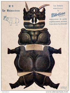Découpage ancien - Blédine Jaquemaire - Animal N°9 Le Rhinocéros - illustration Awaton