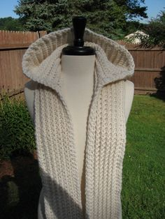 Handmade Nordic Hooded Scarves available in Nordic White or jet Black. $42.00, via Etsy.