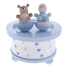 Gisela Graham Baby Boy & Bear Wooden Music Box