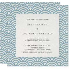 #elegant - #Elegant Blue  White Patterned Wedding Invitation