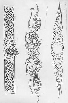 Celtic Patterns - flower one for belt? - Celtic Patterns – flower one for belt? Celtic Tribal, Celtic Art, Leather Tooling Patterns, Leather Pattern, Celtic Tattoos, Viking Tattoos, Tribal Armband Tattoo, Molduras Vintage, Celtic Knot Designs