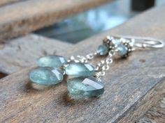 Moss Aqua Earrings Dangling Aquamarine Gemstone by AeridesDesigns, $39.00