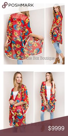 Floral Print Pom Trim Cardigan 3/4 Sleeve Floral Print Kimono with Pom Trim. Amazingly gorgeous & vibrant. Many ways to wear. Pair with jeans, a dress and/or wear as a bikini coverup. Perfect for many occasions & definitely a show stopper. white box boutique Sweaters Cardigans