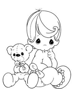 Baby And Teddy Bear Precious Moments Coloring Pages - Precious