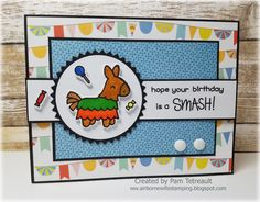 "airbornewife's stamping spot: Day 11 #thedailymarker30day Color Challenge ""HOPE YOUR BIRTHDAY IS A SMASH"" card using Lawn Fawn Year Seven stamps/dies"