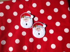 SANTA  - 2 OVERSIZED Machine Embroidered Embellishments / Appliqués - Ready To Ship - pinned by pin4etsy.com