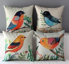 Flor pájaro cojín impresión Animal funda almohada por TheSweetHome