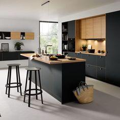 Black Kitchens - Schuller by Artisan Interiors Black Kitchen Cabinets, Kitchen Cabinet Remodel, Black Kitchens, Home Kitchens, Kitchen Island, Kitchen Ranges, Kitchen Black, Kitchen Room Design, Modern Kitchen Design