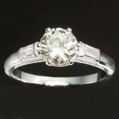 Diamond engagement ring  Platinum 1 carat by adinantiquejewellery, $4550.00. So stunning! In love
