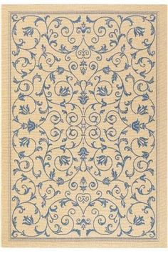 """Manor Area Outdoor Area Rug, 2'7""""x5', BLUE by Home Decorators Collection. $39.00. Some designs actually have a beige background.. Attractive enough to use indoors yet durable enough for outdoor use, you can't go wrong with the Manor Area Rug from our Resort Collection. The incredible durability makes this synthetic rug perfect for high-traffic areas such as the family room or kitchen. Bring cushion and elegance to your floor; order now.Offers the look and texture of ..."""