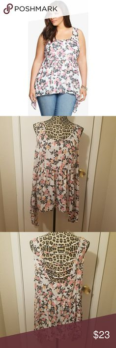 "Torrid Sheer Floral Sharkbite Open Back Tank Top Item is in excellent condition. No rips, stains, snags or tears. Measurements are taken laying flat and unstretched. Material is sheer and lightweight. Perfect for sping, summer and early fall!  Bust 24"" Length 29"" torrid Tops"