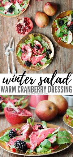 Winter Salad with Warm Cranberry Dressing. Full of flavor and exciting textures. Easy homemade salad dressing for a perfect cold weather side dish. Great for Thanksgiving and Christmas dinners. Spinach Salad Recipes, Healthy Vegetable Recipes, Asparagus Recipe, Chicken Salad Recipes, Healthy Salad Recipes, Lunch Recipes, Savory Salads, Perfect Salad Recipe, Salad Dressing Recipes