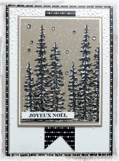 handmade winter/Christmas card ... Wonderland by Stampin'Up! ... black and white with kraft ... luv it!