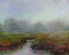 Moody Landscape Fog over Marsh 8x10  pastel by KarenMargulisFineArt,