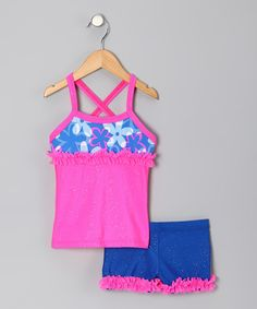 Take a look at this Pink & Royal Blue Floral Tank & Shorts - Toddler & Girls by Lexi-Luu Designs on #zulily today!