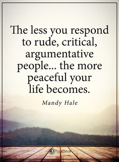 The less you respond to rude, critical, argumentative people.. the more peaceful your life becomes. - Mandy Hale #powerofpositivity #positivewords #positivethinking #inspirationalquote #motivationalquotes #quotes #life #love #hope #faith #respect #mandyhale #rude #critical #argument #peaceful