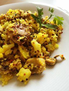 Arroz de coliflor con quinoa y setas