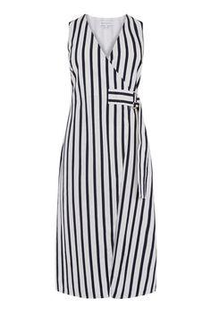 Warehouse, STRIPE WRAP DRESS Blue Stripe 0