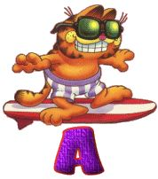 Alfabeto de Garfield surfeando. | Oh my Alfabetos!
