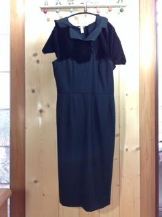 COMME des GARCONS AD 2008 Hooded Rayon Velour And Wool Switch Dress