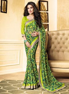 Light Green Georgette Printed Saree With Blouse 85332
