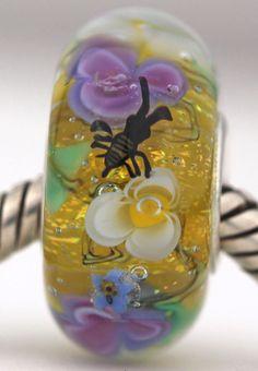 HONEYBEE FLOWERS fits Pandora and Trollbeads bracelets artisan murano glass charm bead. Made by glass artist Mandy Ramsdell.
