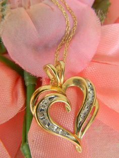 Vintage GOLD HEART PENDANT Necklace Large 10k by LoversLaneJewelry
