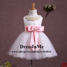 >> Click to Buy << Pearl Beaded Scoop Neck White with Pink Bow Sequined Flowergirl Dress TUTU Dress Pagent Dress with Ball Skirt #Affiliate
