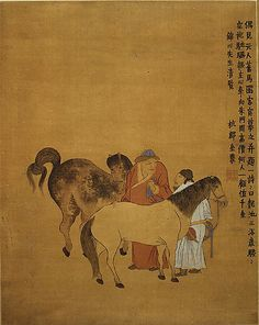 Hanging Scroll - ink and color on silk. Grooms and Foreign Horses - Qing Dynasty (1644–1911) Jin Nong (Chinese, 1687–1763) from The Met Museum