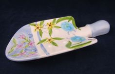 Ceramic Garden Shovel Trowl Decorative Spoon Rest Handpainted Floral Design | eBay