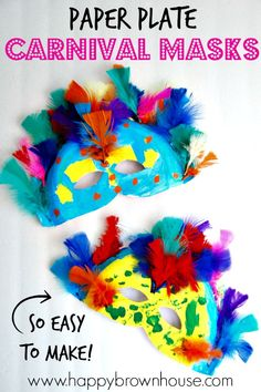 These Paper Plate Carnival Masks are perfect for teaching kids about Rio Carnival, Brazil, and the Rainforest. During a study of the rainforest, read about Rio Carnival in Brazil and make your own colorful masks. Then, have your own family fun night of ma Carnival Activities, Carnival Themes, Circus Theme, Carnival Crafts Kids, Circus Crafts Preschool, Carnival Tent, Carnival Makeup, Carnival Birthday, Circus Party