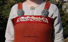 Viking apron dress from hand made diamond wool with silk and embriodery - Othala Craft