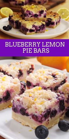 Blueberry Lemon Pie Bars Creamy and sweet pie bursting with blueberries and citrusy lemon on top of shortbread crust. In portable bar form! Mini Desserts, Blueberry Desserts, Lemon Desserts, Easy Desserts, Dessert Recipes, Delicious Desserts, Blueberry Lemon Pie Recipe, Blueberry Lemon Coffee Cake, Frozen Blueberry Recipes