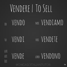 vendere | to sell | Italian | verb