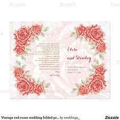 Vintage red roses wedding ceremony and party folded booklet style program
