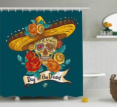 Skull Shower Curtain Mexican Festive Spain Hat Print for Bathroom 70 Inches Long #Ambesonne