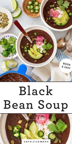 This quick and easy black bean soup recipe is smoky, spicy, creamy, and delicious! Made with 10 ingredients, it's a healthy, comforting vegetarian meal. Whole Food Recipes, Cooking Recipes, Healthy Recipes, Free Recipes, Weekly Recipes, Weekly Menu, Healthy Dinners, Cooking Ideas, Vegetarian Recipes Dinner